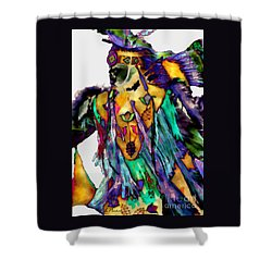 Flowing Feathers Shower Curtain by Linda  Parker