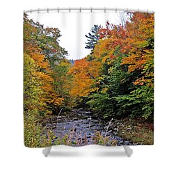 Flowing Into October Shower Curtain by MTBobbins Photography