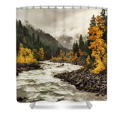 Flowing Through Autumn Shower Curtain