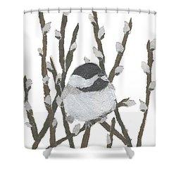 Chickadee Art Hand-torn Newspaper Collage Art By Keiko Suzuki Bless Hue Shower Curtain by Keiko Suzuki