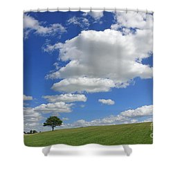 Fluffy Clouds Over Epsom Downs Surrey Shower Curtain
