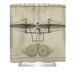Flugmashine Patent 1807 Shower Curtain by Bill Cannon