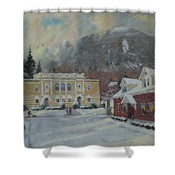 Flurries Over Mount Greylock Shower Curtain