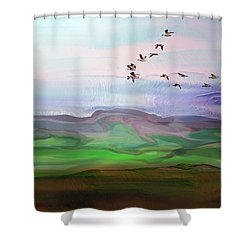 Fly By Digital Painting Shower Curtain