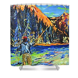 Fly Fisherman Shower Curtain