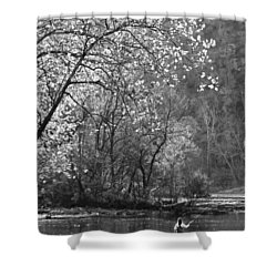 Fly Fisherwoman Bw Shower Curtain by Denise Romano