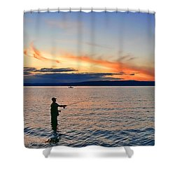 Fly Fishing  Fisherman On Puget Sound Washington Shower Curtain by Jennie Marie Schell