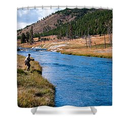 Fly Fishing In Yellowstone  Shower Curtain by Lars Lentz