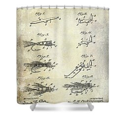 1922 Fly Fishing Lure Patent Drawing Shower Curtain by Jon Neidert