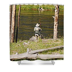 Fly Fishing Shower Curtain by Mary Carol Story