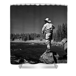 Shower Curtain featuring the photograph Fly Fishing The Box by Ron White