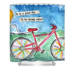 Flying Away- Bicycle And Balloon Painting Shower Curtain