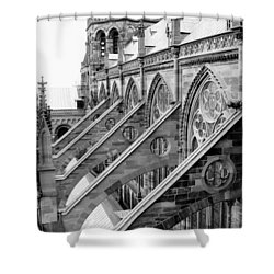 Flying Buttresses Bw Shower Curtain