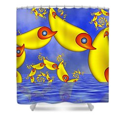 Shower Curtain featuring the digital art Jumping Fantasy Animals by Gabiw Art
