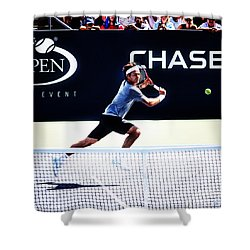 Flying Federer  Shower Curtain by Nishanth Gopinathan