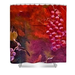Flying Grapes Shower Curtain by Lisa Kaiser