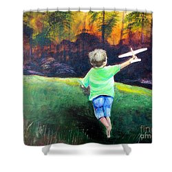 Shower Curtain featuring the painting Flying High by Patricia Piffath