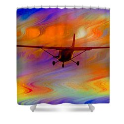 Flying Into A Rainbow Shower Curtain