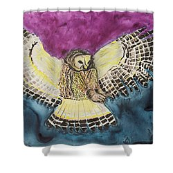 Shower Curtain featuring the painting Flying Owl by Jeanne Fischer