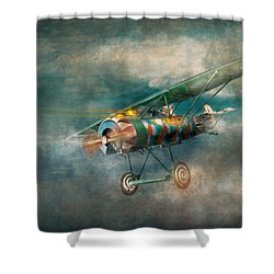Flying Pig - Acts Of A Pig Shower Curtain by Mike Savad