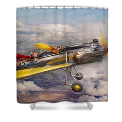 Flying Pig - Plane - The Joy Ride Shower Curtain by Mike Savad