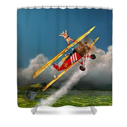 Flying Pigs - Plane - Hog Wild Shower Curtain by Mike Savad