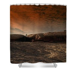 Flying Saucer Rock Shower Curtain by Jeff Swan