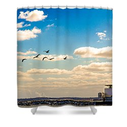 Shower Curtain featuring the photograph Flying To Discovery by Steven Santamour