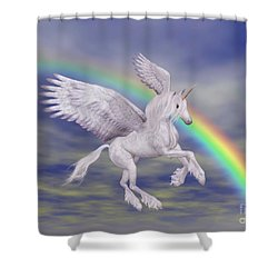 Flying Unicorn And Rainbow Shower Curtain by Smilin Eyes  Treasures