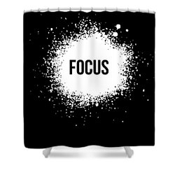 Focus Poster Black Shower Curtain by Naxart Studio