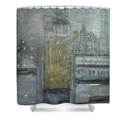 Fog Covered City Shower Curtain