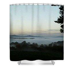 Fog Mountain Lake Shower Curtain