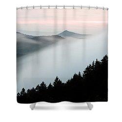 fog on the mountain shower curtain by bill swindaman