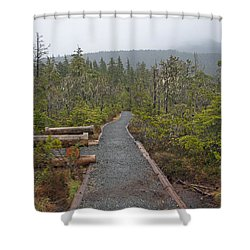 Fog On The Trail Shower Curtain by Cathy Mahnke