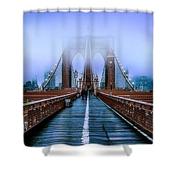 Fog Over The Brooklyn Shower Curtain by Az Jackson