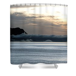 Shower Curtain featuring the photograph Fog Roll Sunset by Jennifer Wheatley Wolf