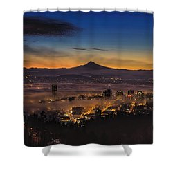 Fog Rolling In At Dawn Over The City Of Portland Shower Curtain