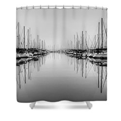 Shower Curtain featuring the photograph Foggy Autumn Morning - Black And White by Heidi Smith