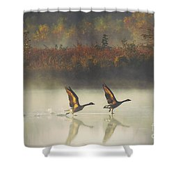 Foggy Autumn Morning Shower Curtain