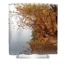 Foggy Autumn Riverbank Shower Curtain by Carol Groenen