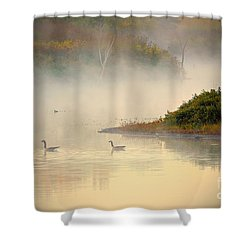 Foggy Autumn Swim Shower Curtain