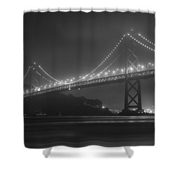 Foggy Bay Bridge Shower Curtain