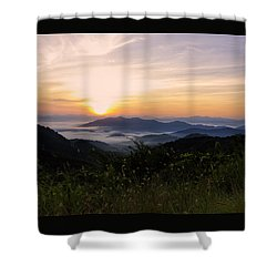 Foggy Blue Ridge Mountain Sunrise Shower Curtain