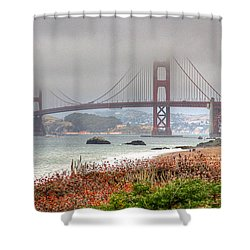Shower Curtain featuring the photograph Foggy Bridge by Kate Brown
