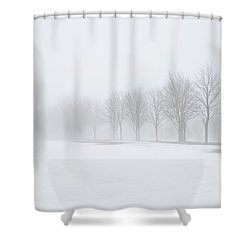 Foggy Day With Snow Shower Curtain by Donna Doherty