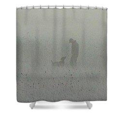 Foggy Dog Walk Shower Curtain