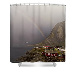 Foggy Hamnoy Rorbu Village Shower Curtain by Heiko Koehrer-Wagner