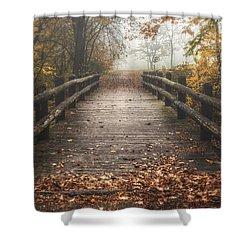Foggy Lake Park Footbridge Shower Curtain