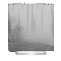 Foggy Lake Shoreline View Bw  Shower Curtain by James BO  Insogna