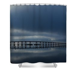 Shower Curtain featuring the photograph Foggy Mirrored Navarre Bridge At Sunrise by Jeff at JSJ Photography